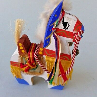 Wooden Horse Handcrafted Wood Gold Red Colorful Ribbons Bells