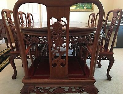 Authentic Chinese Rosewood 12 Piece 8 Foot Seat Dining Table Set