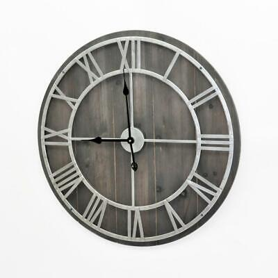 Huge 70cm Metal & Washed Black Wood Skeleton Wall Clock Gift