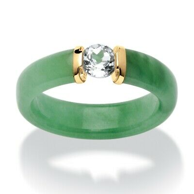 PalmBeach Jewely .56 TCW White Topaz and Green Jade Ring in 10k Yellow Gold