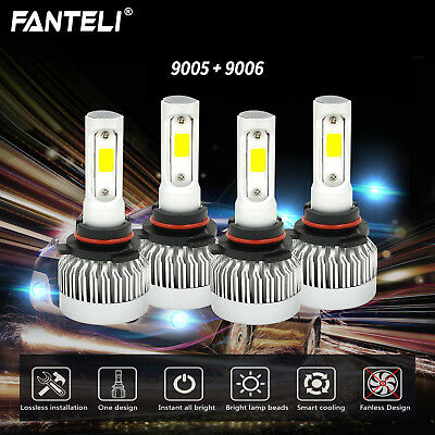 9005+9006 6000K 498000LM Combo FANLESS CREE LED Headlight Kit Hi-Low Light Bulbs
