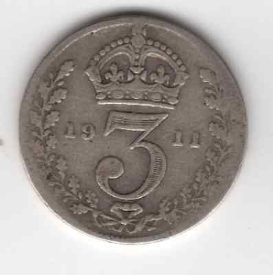 1911 3d Silver THREE PENCE threepence thrupence George V (c)