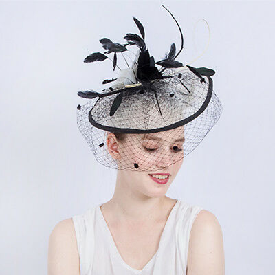 Prettyia Vintage Fascinator Hat with Feather Birdcage Veil Wedding Derby Hat