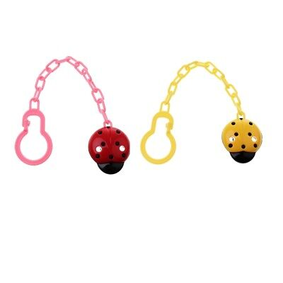 Prettyia 2PACK Cute Baby Boys / Girls Soother Pacifier Chain Clip Holder
