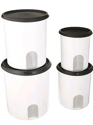 New TUPPERWARE One Touch Reminder 4~PC Canister Set Black SealFREE SHIPPING!!