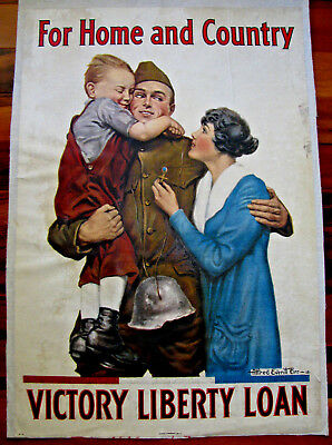 Original WWI War Poster, For Home And Country, by A.E. Orr, Linen, 1918