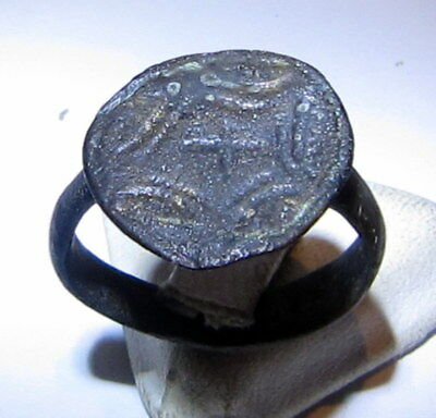 Beautiful Early Post Medieval Bronze Ring With Engraving Cross On The Top # 979