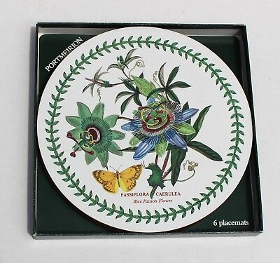 "Set of 6 Portmeirion Round Placemats, Botanic Garden, 9 3/"",  Cork Backs, In Box"