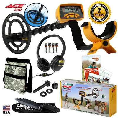 Garrett ACE 250 Metal Detector w/ Waterproof Coil, Headphones, Digger and Pouch