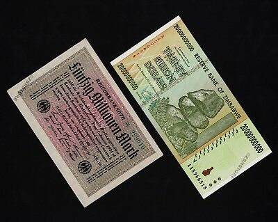 50 Million German Mark [1923] + 20 Billion Zimbabwe Dollars [2008] Banknotes Set