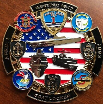 """Awesome 3"""" Navy USN Chief CPO Mess USMC Challenge Coin Amphib Westpac 16-17"""