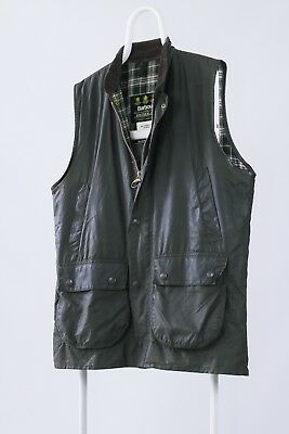 Mens BARBOUR A220 Westmorland Waxed Green Hunting Shooting Vest Gilet Oil Wax