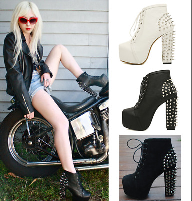 Womens Rivets Punk Chunky High Heels Ankle Boots Lace Up Shoes Goth Fashion Chic