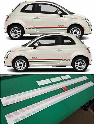 Fiat 500 Sport Italian Side Stripes Graphics Decals Stickers Quality Laminated