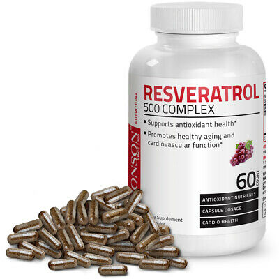 Resveratrol 500 Complex Red Wine Extract Antioxidant Heart Health, 60 Capsules