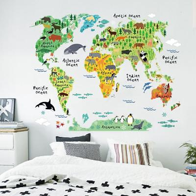 Cute Kids Animal World Map - Colourful Wall Sticker Art For Children Of All Ages