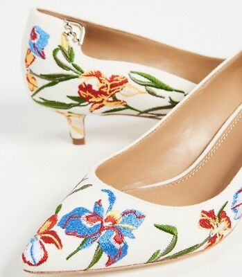 13103613f  298 NEW Tory Burch ELIZABETH 40 Embroidered Pumps Heels Blue White Shoes 6