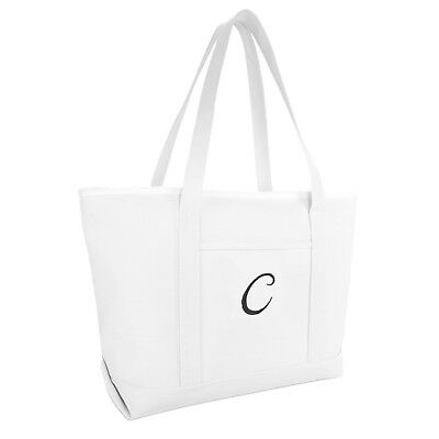 cb861c6f41 DALIX Large Canvas Tote Bag for Women Work Bag Beach Totes Monogrammed  White A-Z