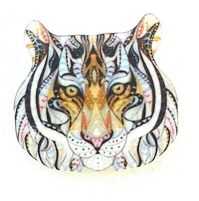 White Tiger Head Large Acrylic Pin Brooch Jewelry
