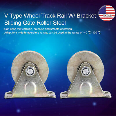 "2pcs 2"" V Type Wheel Track Rail W/ Bracket Sliding Gate Roller Steel Track Rail"