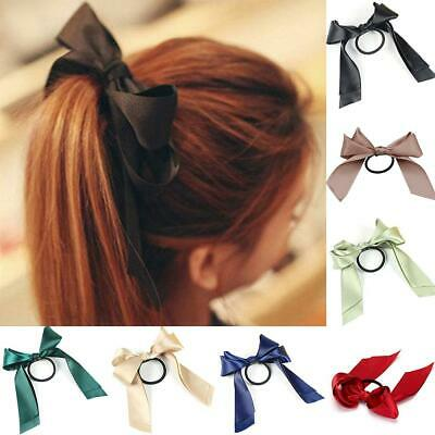 Women's Colorful Satin Ribbon Bow Hair Band Rope Scrunchie Ponytail Holder Ties