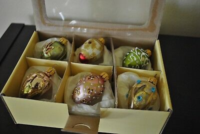 """NEW S/6 Faberge EGG Glass Ornament  Glitter Jewels Perl Crystal Pink Green PL 2"""""""