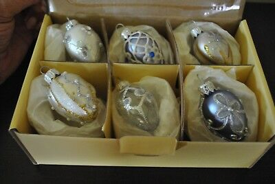 """NEW S/6 Faberge EGG Glass Ornament  Glitter Jewels Perl Crystal Blue White PL 2"""""""