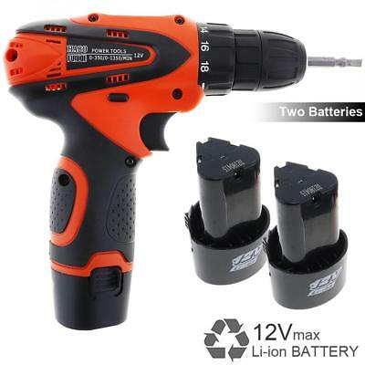 12V Cordless Electric Screwdriver LED Bit Drill Set Rechargeable Power AC