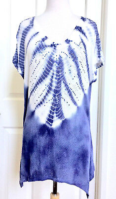 fe5d0f13764 NWT TRYST BLUE Tie Dye High Low Tunic Shirt Top Women's Large ...