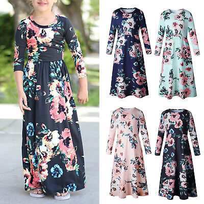 Kids Girls Long Sleeve Floral Maxi Dress Summer Holiday Wedding Party Dresses