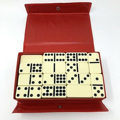 Vintage Cardinal DOUBLE NINE Dominoes Ivory Color Black Dots Vinyl Case 55 Tiles
