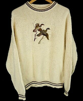 Vintage Ll Bean Sweater Embroidered Ducks Ivory Cotton Mens Size M Medium