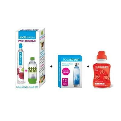 Pack SODASTREAM Accessoires : Lot Cylindre CO2 + 1 bouteille 1L + Lot 10 pastill