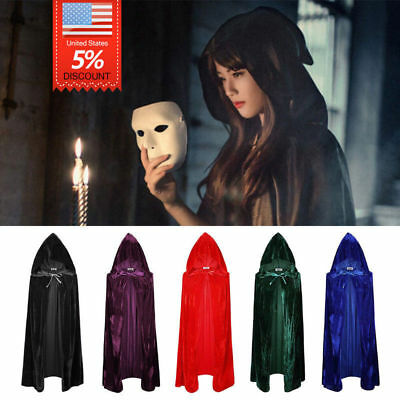 Women Gothic Hooded Velvet Cloak Robe Cape Medieval Witchcraft Halloween Cosplay