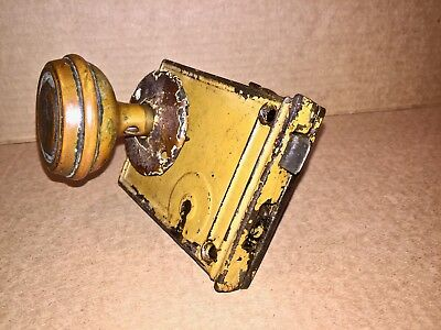 Rim Lock Latch Set Horizontal Vintage Antique Brass Door Knobs Rosette Poor Cond