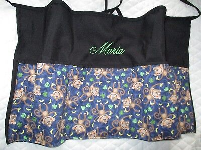 Waitress Apron Server Black Server 3 Pocket Diner Monkeys W/WO Name Lady Pizazz