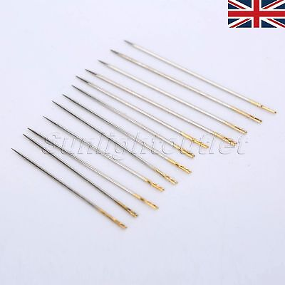 UK STOCK 12/48pcs Assorted Hand Sewing Needles Self-threading Repair Patching