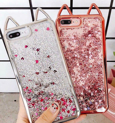 iPhone 7 8 8+ Plus XS 10 - Hard TPU Rubber Waterfall LIQUID Glitter Cat Ear Case