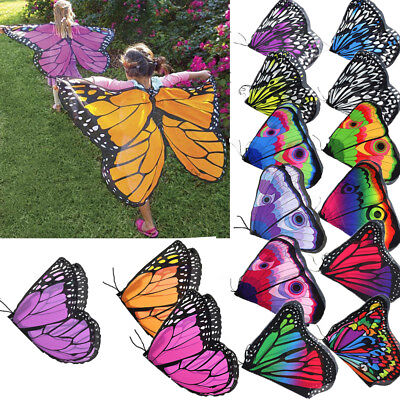 Children Girls Fashion Colorful Kids Butterfly Wing Cape Scarf Shawl Neckerchief