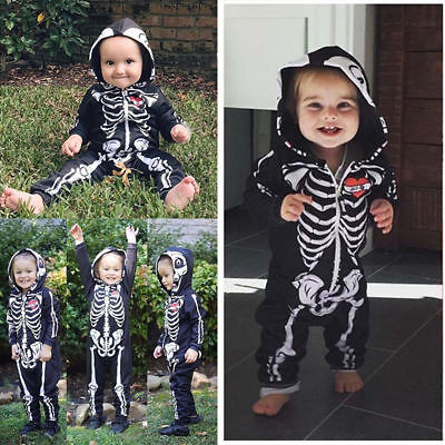 Toddler Halloween Baby Boy Hooded Skull Skeleton Romper Jumpsuit Outfits Clothes