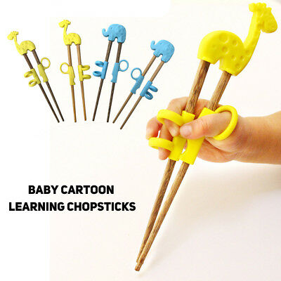 Cute Children Chopsticks For Kids Cartoon Wood Reusable Learning Training New 66
