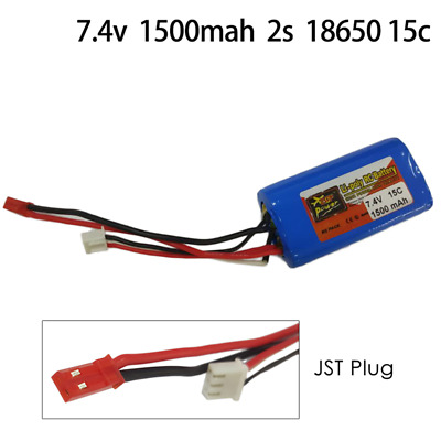 ZOP 7.4V 1500mah 2s 18650 15c JST Plug Lipo Battery For Remote Control Airplane