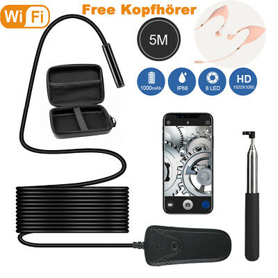 Waterproof 5M 8mm Endoscope WIFI Inspection Camera Scope 8LED for IOS Android LG