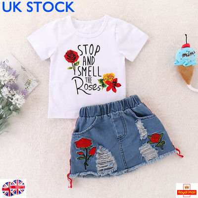 UK Toddler Baby Girls Kids Shirts Top+Jeans Denim Short Summer Outfits Clothes