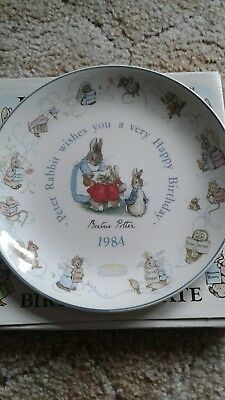 Peter rabbit china. Birthday plate 1984. With box. Mint condition. Wedgwood