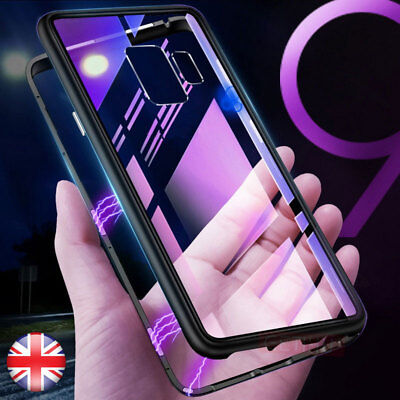 For Samsung Galaxy S9 S10 Note 9 Magnetic Adsorption Metal Tempered Glass Case