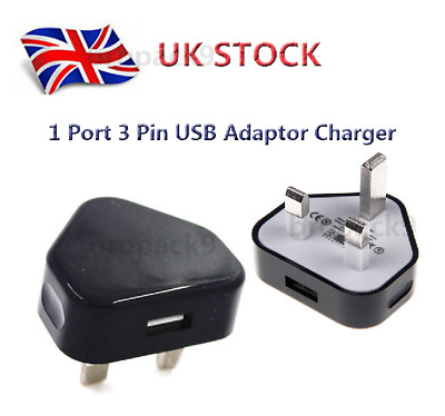 1 Port 3 Pin USB Adaptor Charger Mains Wall Plug Power For Phones Tablets UK New