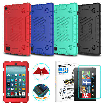 For Amazon Kindle Fire 7 7th Gen 2017 Tablet Soft Silicone Case+Screen Protector
