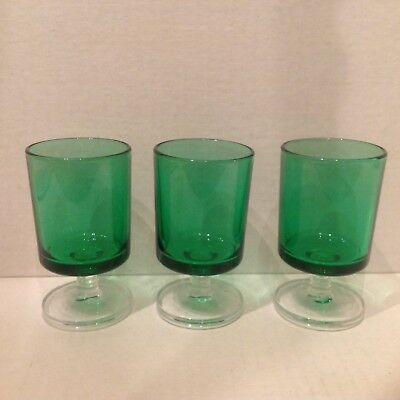 3 Vtg Luminarc Cordial Glass Emerald Green Clear Stem 1970s