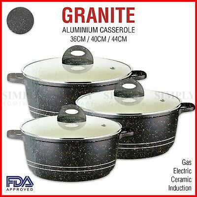 Non Stick Casserole Dish Induction Cookware Aluminium Granite Black Glass Lids